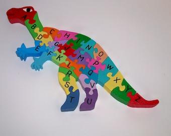 Child's Wooden Iguanodon Dinosaur Alphabet Puzzle