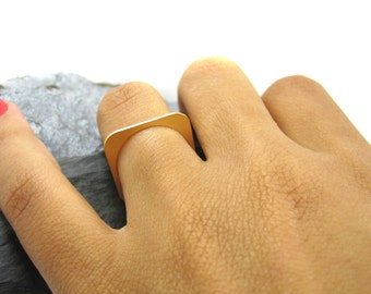 Rose Gold Ring, Square Ring, Stackable Ring, Thin Ring, Square Jewelry, Bridesmaids Gift Ring, Gift for Her Ring, Unique Ring, Delicate Ring