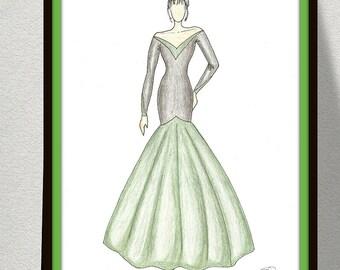 Black Green Fashion Illustration, Fashion Art, Wall Art, Digital Fashion Illustration, Instant Digital Download, Black-Green Large Dress.