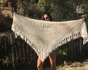 Knit Shawl,off-white, fringed wrap