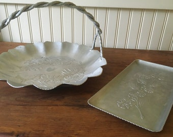 Two Vintage Hammered Aluminum Serving Pieces