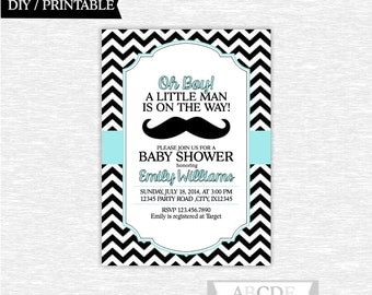 Pale Teal Black Little Man Mustache Boy Baby shower invitation Chevron Little Man Shower DIY Printable (BOT007)