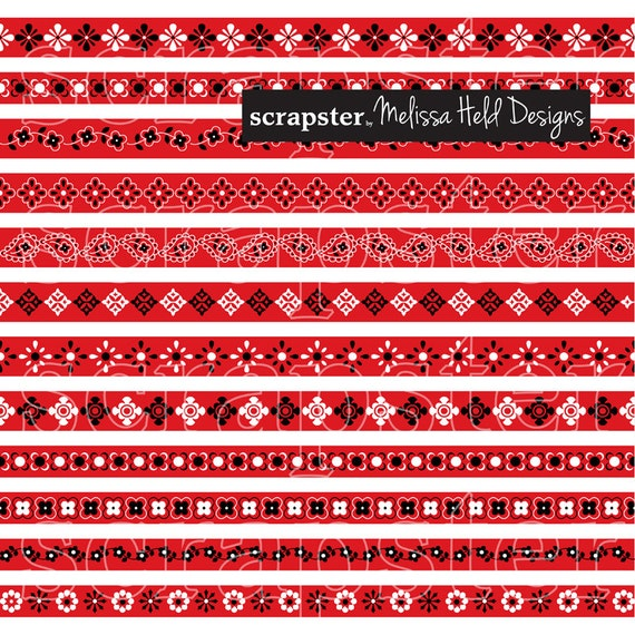 red bandana border patterns clipart from