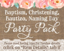 Baptism Party Package, 1st Communion decorations, Christening Party printables, Bautismo, Batizado, Baptism Party Printables, Dedication