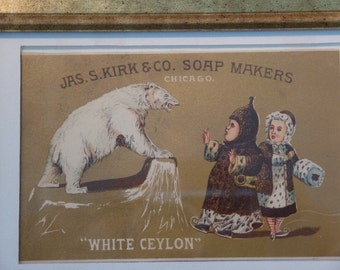 Framed vintage trade card. Chicago Soap Maker