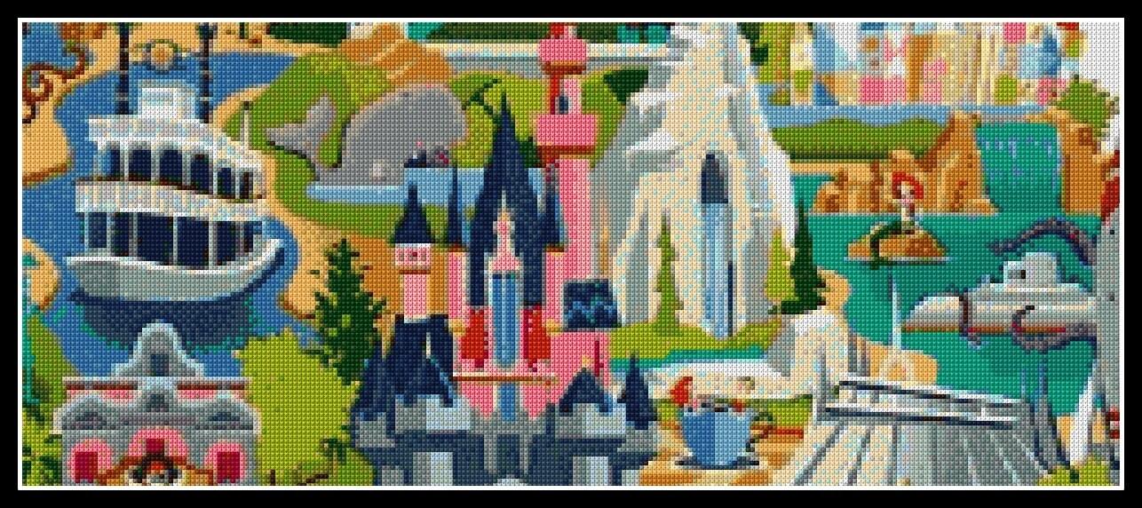 Disneyland Map Cross Stitch Pattern Cross Stitch Disney Cross - Disneyland brazil map