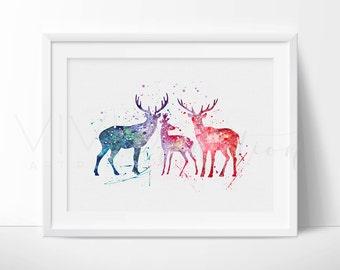 Deer Stag Antler Family Woodland Animal Nursery Art Print Wall Decor, Kids Room, Baby Shower Gift, Home Decor, Wall Art Not Framed, No. 1-7