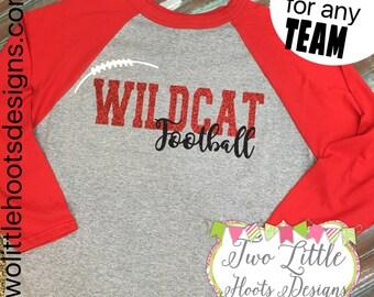 Customized Football Shirt ~  Glitter Football Tee ~ 3/4 length ~ colored Sleeves ~ Raglan Tee