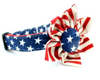 American Flag Dog Collar with Flower Attachment- FC-151
