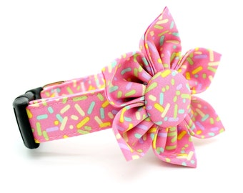 Pink Sprinkles Dog Collar with Flower Attachment- FC-5237