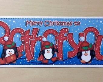 Both Of You Christmas Card, Christmas Card, Both Of You Card, Merry Christmas Card, Penguin Christmas Card, Christmas, Penguin Card, Penguin