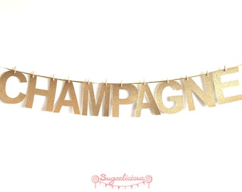 CHAMPAGNE Gold Glitter Bunting Garland. New Years Eve / Wedding / Party Banner decoration (other colours available)