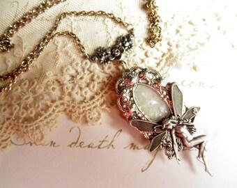 Winter Ice Fairy~ Glow in the Dark locket in aged silver finish  Ren Faire, Victorian, Spiritual, Pagan, Gothic, Steam Punk