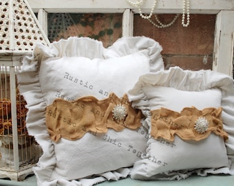 Ruffled Pillow - Drop Cloth - Handmade 12x12