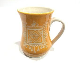 Moroccan-Inspired Yellow Porcelain Mug