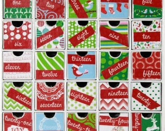 Children's Advent Calendar - Advent Countdown Calendar - Drawers - Non-Traditional Colors - Reusable Advent - Christmas Family Tradition