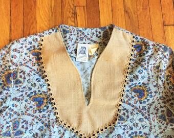 Vintage 70s Kennington Paisley Psychedelic Hippie Tunic Shirt Medium
