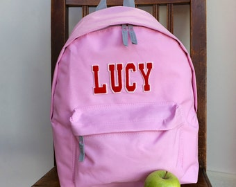 Appliqué Any Name Rucksack Varsity Uni Student Style Letters Backpack Girls and Boys School Gym School Swimming Bag Ballet
