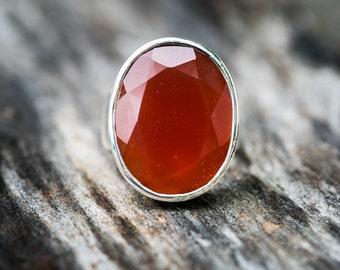 Carnelian Ring size 7 - Carnelian Ring size 7 - Faceted Carnelian Jewelry - beautiful Carnelian sterling silver ring - Orange Chalcedony Rin
