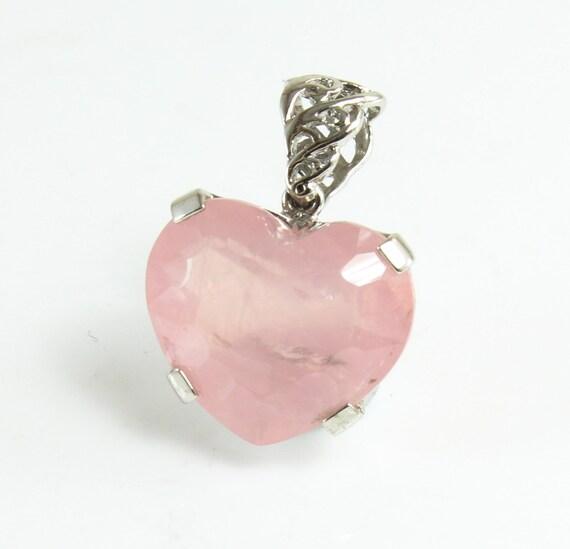Rose Quartz Heart Pendant, Sterling Silver, C-322