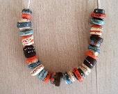 Glass Lampwork Bead set of 18 Blue turquoise coral cream amber Fine Silver Etched Textured Finish