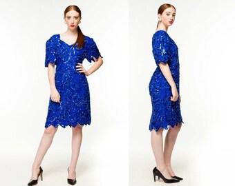 Vintage Royal Blue Sequined Dress