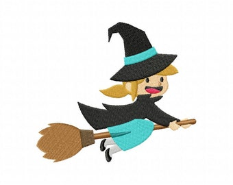 Halloween Cute Teal Witch Machine Embroidery Design