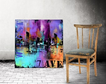 "36"" Large Abstract Urban Painting, Art Painting Large industrial modern abstract painting sofa knife art"