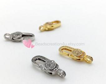 24K Gold Rhodium Medium Size Lobster Claw Clasps, Micro Pave CZ Cubic Zirconia, Fine Jewelry Clasps,Lobster Clasps, High Quality,24x8mm