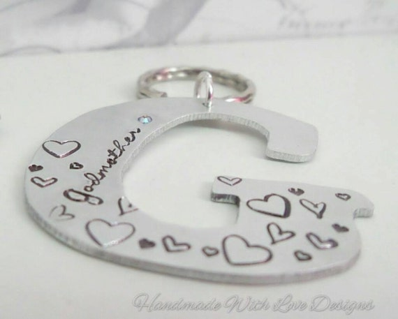 Godparent Personalized Initial Keyring, Name Keychain With handstamped designs, Godmother Godfather