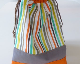 Baby bag, drawstring bag, snack bag, kids tote bag, book bag, preschool bag, storage pouch, pouch bag, sliding bag, patchwork fabric, orange