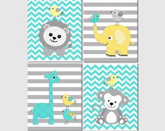 Turquoise blue, Yellow and grey safari nursery Art Print Set, baby boy wall art,  elephant, chevron, giraffe, lion, monkey, birds - UNFRAMED