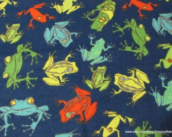 Flannel Fabric - Frogs Navy - 1 yard - 100% Cotton Flannel