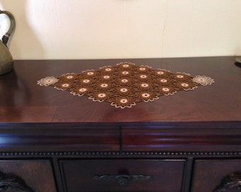 Brown & Gold Crochet Beaded Doily,Table Toppers