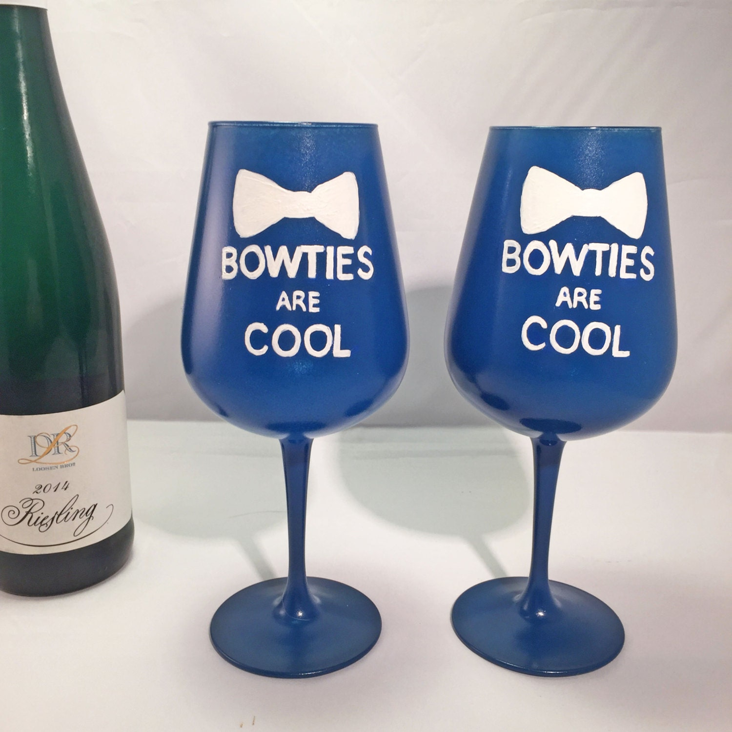 Sale Dr Who Bowties Are Cool Hand Painted Wine Glasses Set