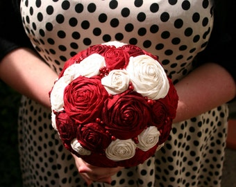 Wedding bouquet with silk roses, alternative bouquet, wine red and cream, silk dupioni
