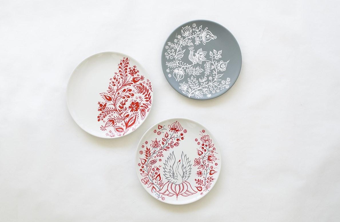 D coration murale plaque peinte rouge blanc cadeaux de for Decoration murale blanc