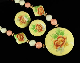 Vintage Jewelry Set - Japanese Porcelain Peony Pink Beaded Necklace, Clip on Earrings - Estate Jewelry, Vintage Jewelry, Mid Century Japan
