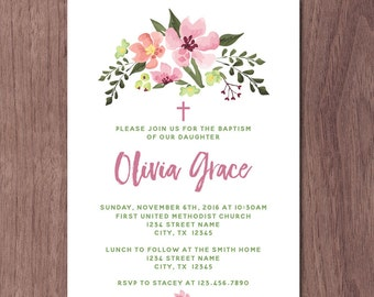 Girl Flower Baptism Invitation Modern Baby Dedication Invitation Christian Christening Confirmation First Communion Invite Lutheran Catholic