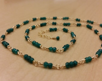 Hand Wrapped Emerald Necklace