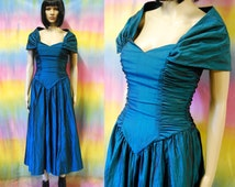 80s Vintage Green Blue Iridescent Prom Dress Bridesmaid Gown Kitsch Mid Length Boned Bustier Vtg Retro 1980s Size XS