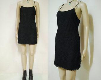 90s Vintage Black Net Mesh Mini Dress Grunge Short Length Lined Goth 1990s Vtg Size XXS-XS