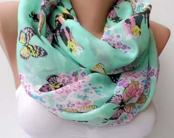 Chiffon loop scarf elegant scarf Infinity Circle Summer scarf green scarf Butterfly scarf gifts for her Soft Scarf Trend Fashion Feminine