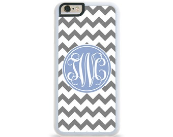 Chevron Ice Blue Circle Monogram Personalized iPhone Case, Monogram Personalized Galaxy Case
