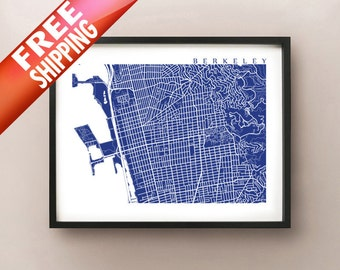 Berkeley Map Print - California Poster