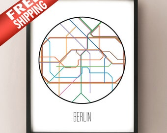 Berlin Minimalist Metro - Germany Subway Art Print - Berlin decor poster - transit system minimalist art