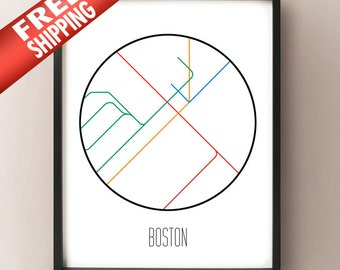 Boston, Massachusetts - Minimalist Metro Subway Art Print - MBTA