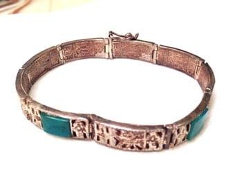 Vintage Mid Century Peruvian Sterling Silver Chrysocolla Ornate Segmented Bracelet