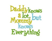Mommy Knows Everything Embroidery Design -INSTANT DOWNLOAD-