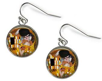 THE KISS Gustav Klimt - Glass Picture Earrings - Silver Plated (Art Print O15)